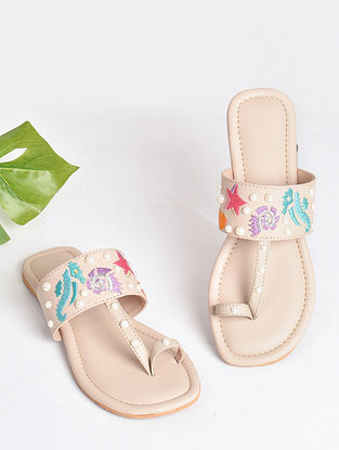 Cream Handcrafted Faux Leather Kolhapuri Flats
