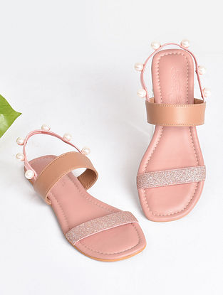 Pink Rose Gold Handcrafted Faux Leather Sandals