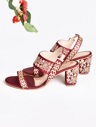 Maroon Embroidered Faux Leather Block Heels