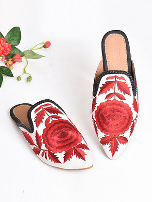 Red Black Embroidered Faux Leather Mules