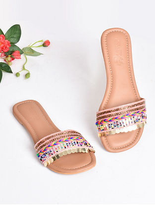Pink Handcrafted Beaded Faux Leather Flats