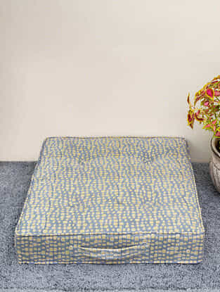 Olive Hand Block Printed Floor Cushion (L-22in,W-22in,H-5in)