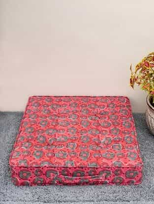 Pink Hand Block Printed Floor Cushion (L-22in,W-22in,H-5in)
