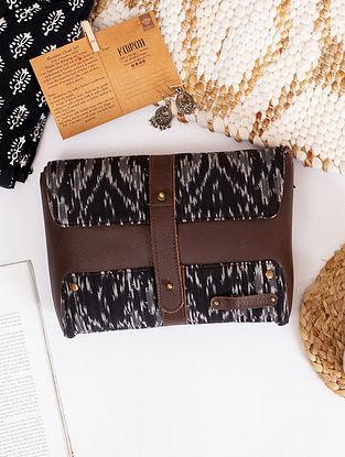 Black Handcrafted Ikat Cotton Leather Sling Bag
