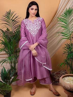 Purple Chanderi Silk Kurta with Silk Palazzo and Organza Dupatta