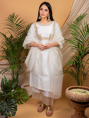 White Chanderi Silk Kurta with Silk Palazzo and Organza Dupatta