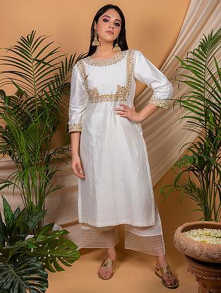 White Chanderi Silk Kurta with Silk Palazzo