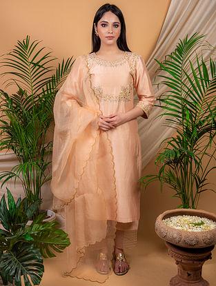 Peach Chanderi Silk Kurta with Silk Palazzo