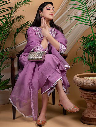 Purple Chanderi Silk Palazzo