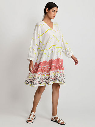 White and Multicolor Hand Block Printed Cotton Dress