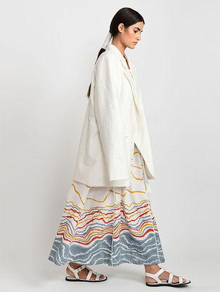 White Hand Block Printed Cotton Jacket