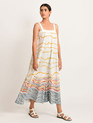 White and Multicolor Hand Block Printed Cotton Jumpsuit