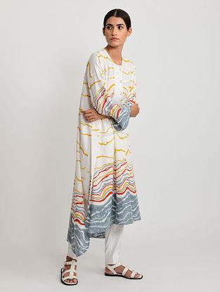 White and Multicolor Hand Block Printed Cotton Kurta