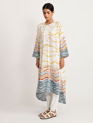 White and Multicolor Hand Block Printed Cotton Kurta with Pants