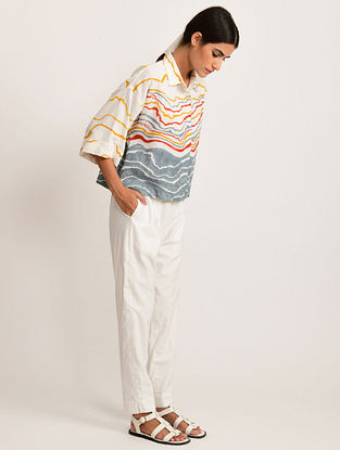 White and Multicolor Hand Block Printed Cotton Top