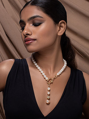 White Gold Tone Beaded Necklace With Pearls And Cubic Zirconia