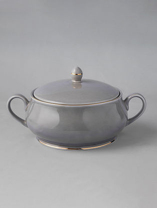 Grey Porcelain Handcrafted Casserole (Dia-7.5in ,H-5.5in)