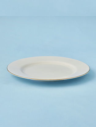 Off White Porcelain Handcrafted Dessert Plate (Dia-8in)