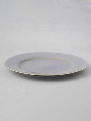 Grey Porcelain Handcrafted Dinner Plate  (Dia-10.5in)