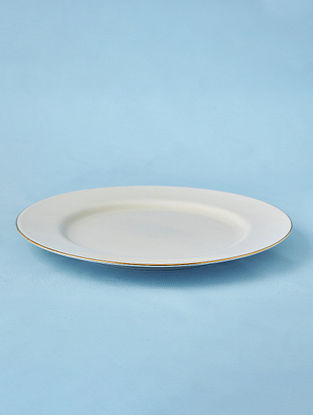 Off White Porcelain Handcrafted Dinner Plate  (Dia-10.5in)
