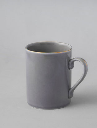 Grey Porcelain Handcrafted Mug (Dia-3.25in ,H-4.1in)