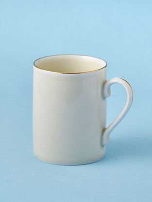 Off White Porcelain Handcrafted Mug (Dia-3.25in ,H-4.1in)