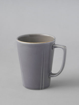 Grey Porcelain Handcrafted Mug (Dia-3.25in ,H-4.25in)