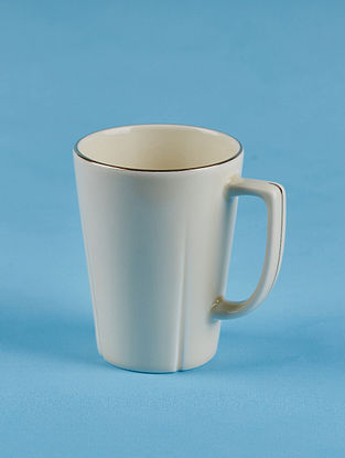 Off White Porcelain Handcrafted Mug (Dia-3.25in ,H-4.25in)