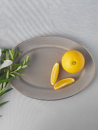 Grey Porcelain Handcrafted Rice Plate (L-12in ,W-8.5in)