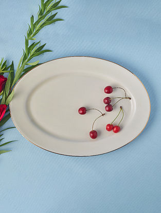 Off White Porcelain Handcrafted Rice Plate (L-12in ,W-8.5in)