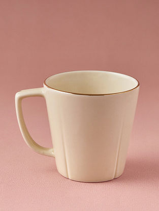 Off White Porcelain Handcrafted Mug (Dia-3.25in ,H-3.25in)