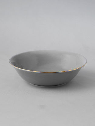 Grey Porcelain Handcrafted Serving Bowl (Dia-8in ,H-2.2in)