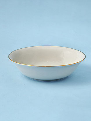 Off White Porcelain Handcrafted Serving Bowl (Dia-8in ,H-2.2in)