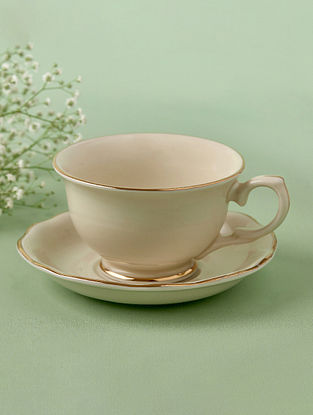 Off White Porcelain Handcrafted Tea Cup Saucer (Dia-4in ,H-2.75in)