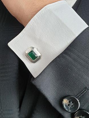 Green Silver Cufflinks with Emerald