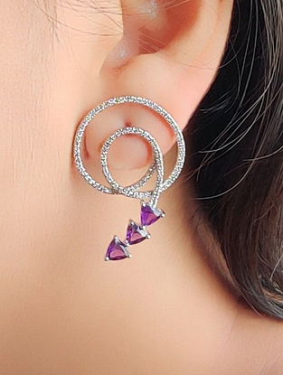 Purple Gold Earrings with Diamond and Amethyst
