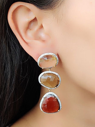Yellow Brown Gold Earrings with Diamond and Topaz