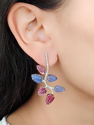 Pink Purple Gold Earrings with Diamond Tanzanite and Rubelite