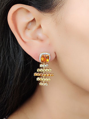 Yellow Orange Gold Earrings with Diamond and Citrine