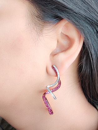 Pink Gold Earrings with Diamond and Rhodolite