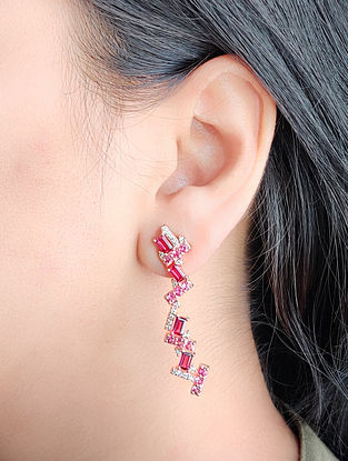 Pink Gold Earrings natural Diamond Tourmaline and Rhodolite