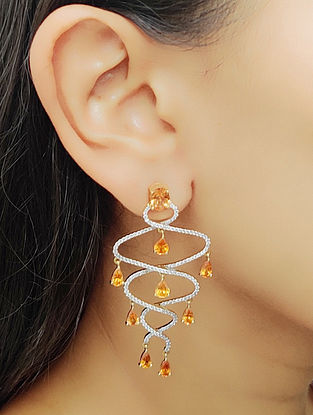 Yellow White Gold Earrings with Diamond and Garnet