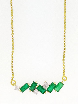 Green Gold Pendant with Diamond and Emeralds