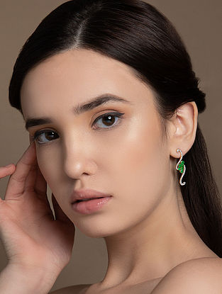 Green Gold Earrings with Diamond and Emerald