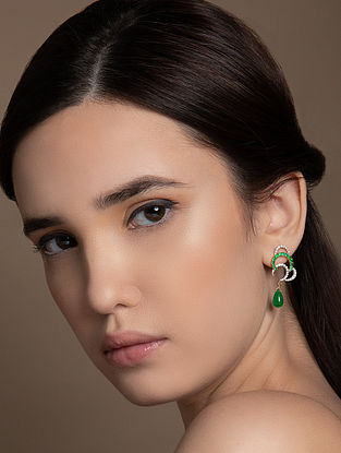 Green White Earrings with Diamond and Emerald