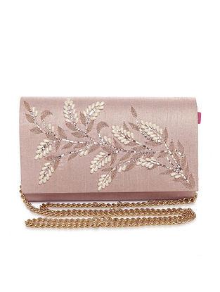 Pink Hand Embroidered Dupion Silk Clutch