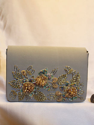 Gold Hand Embroidered Crepe Clutch