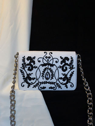 White Black Hand Embroidered Suede Clutch