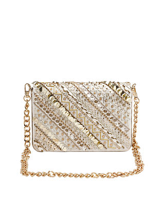 Gold Hand Embroidered Leatherite Clutch