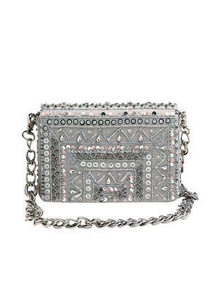 Grey Silver Hand Embroidered Suede Clutch